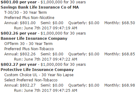 1,000,000 30 Year Term Life Insurance Policy Male Age 35