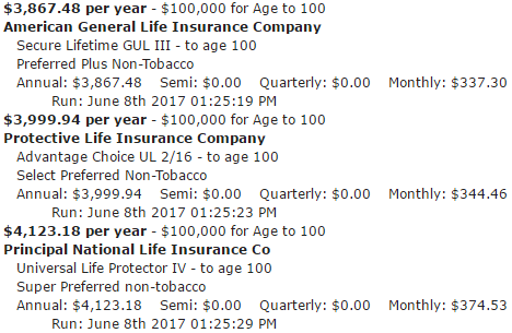 $100,000 Life Insurance Policy Guaranteed To Age 100 Male Age 75